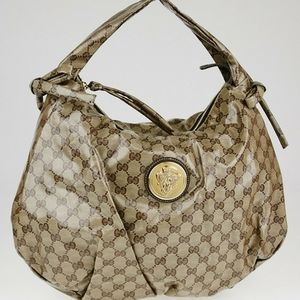 GUCCI Beige/Ebony GG Crystal Hysteria Medium